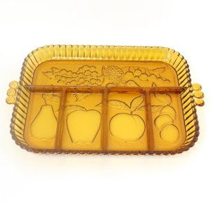 Indiana Glass Amber Relish Dish Fruits 5 Section
